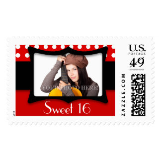 Sweet 16 Red Polka Dot Photo Postage
