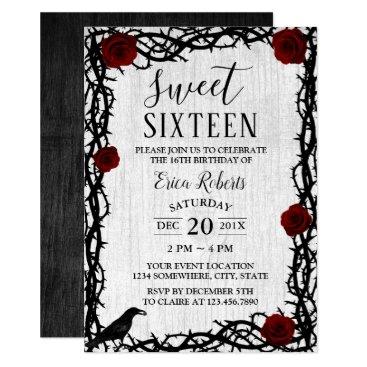 myinvitation Sweet 16 Red Rose & Thorn Elegant Fairytale Rustic Card