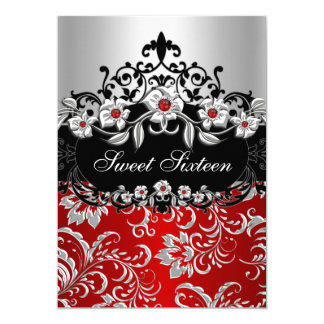 Sweet 16 Red Silver Black Floral Jewel Party 5x7 Paper Invitation Card