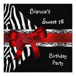 Sweet 16 Red Silver Black Zebra Leopard Birthday Card