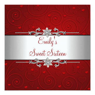 Sweet 16 Red Silver Floral Love Birthday Party Card