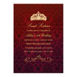 Sweet 16   Red Tiara & Damask Invitation