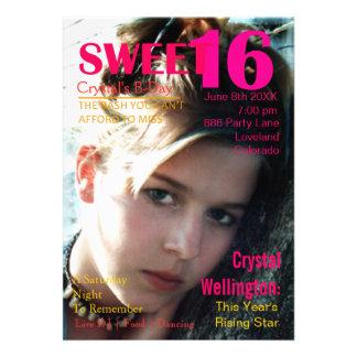 Sweet 16 Rising Star Red Magazine Cover Invite