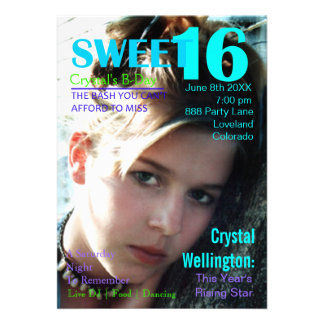 Sweet 16 Rising Star Teal Magazine Cover Invite
