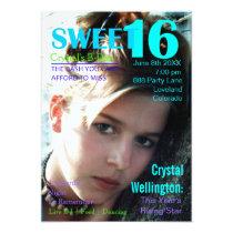 "Sweet 16 Rising Star Teal Magazine Cover Invite 5"" X 7"" Invitation Card"