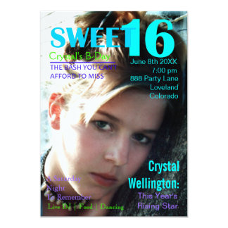 Sweet 16 Rising Star Teal Magazine Cover Invite