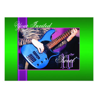 Sweet 16 Rock Guitar Green Party Invitation