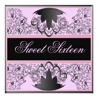 Sweet 16 Royal Ribbon Black/Soft Pink Invitation