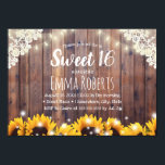 "Sweet 16 Rustic Sunflowers & String Lights Invitation<br><div class=""desc"">Rustic Sunflowers & String Lights Sweet 16 Invitations.</div>"