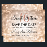 "Sweet 16 Save The Date Rose Gold Glitter Lights<br><div class=""desc"">Elegant &quot;Sweet 16 ( Sixteen ) Birthday Party&quot; design with Rose Gold Bokeh Sparkle Lights,  and custom name and details text. Impress your family and friends with this stylish and glamorous design. Easy to use and easy to personalize. Order Today!</div>"
