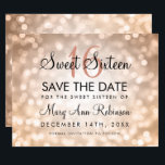 """Sweet 16 Save The Date Rose Gold Glitter Lights<br><div class=""""desc"""">Elegant """"Sweet 16 ( Sixteen ) Birthday Party"""" design with Rose Gold Bokeh Sparkle Lights,  and custom name and details text. Impress your family and friends with this stylish and glamorous design. Easy to use and easy to personalize. Order Today!</div>"""