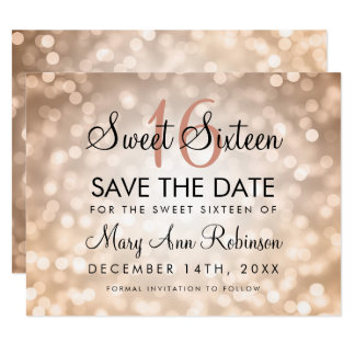 Sweet 16 Save The Date Rose Gold Glitter Lights Card