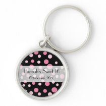Sweet 16 - Seamless Dots, Dotted Pattern - Pink Keychain