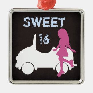 Sweet 16 Silhouette Girl and Car ~ Pink and Blue Metal Ornament