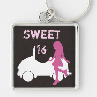 Sweet 16 Silhouette Girl and Car Pink and Brown Keychain