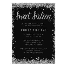 Sweet 16 Silver Black Faux Glitter Birthday Card