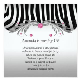 Sweet 16 Silver Black Zebra FAUX Pink Jewels Bling Card