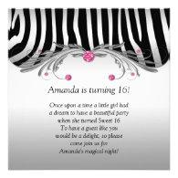 Sweet 16 Silver Black Zebra FAUX Pink Jewels Bling Invitations