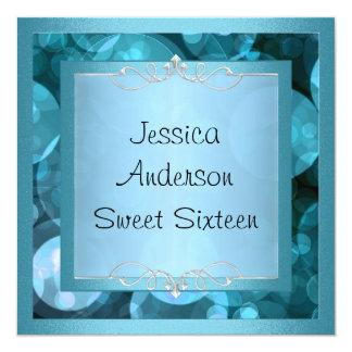 Sweet 16 Silver Blue Bubbles Metal  Frame Party Card