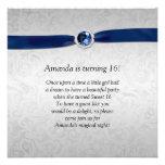 Sweet 16 Silver Damask Blue Ribbon  Gemstone Custom Invite