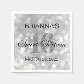 Sweet 16 Silver Glitter Custom Personalized Napkin