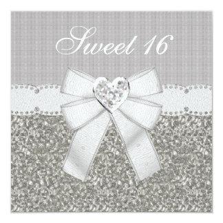 """Sweet 16 Silver Glitter & Sparkle Heart Invites 5.25"""" Square Invitation Card"""