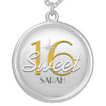 Sweet 16 Silver/Gold Sparkle Personalized Round Pendant Necklace