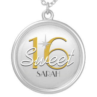 Sweet 16 Silver/Gold Sparkle Personalized Silver Plated Necklace
