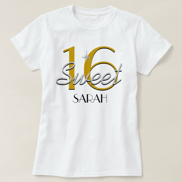 Sweet 16 Silver/Gold Sparkle T-Shirt