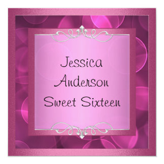 Sweet 16 Silver Pink Bubbles Metal Frame Party Card