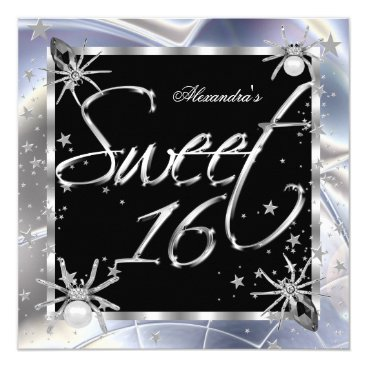 Halloween Themed Sweet 16 Silver Spiders 16th Birthday Party Card