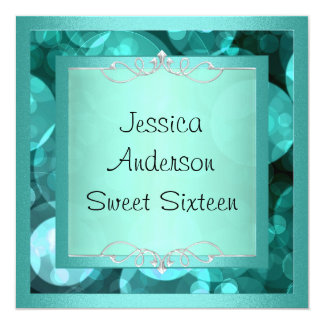 Sweet 16 Silver Teal Bubbles Metal Frame Party Card