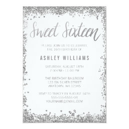 Sweet 16 Silver White Faux Glitter Birthday Card