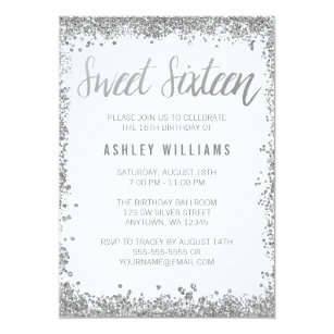 Sweet 16 Silver White Faux Glitter Birthday Invitation