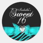 Sweet 16 Sixteen Aqua Black Zebra Custom Sticker Round Sticker