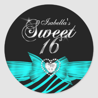 Sweet 16 Sixteen Aqua Black Zebra Custom Sticker