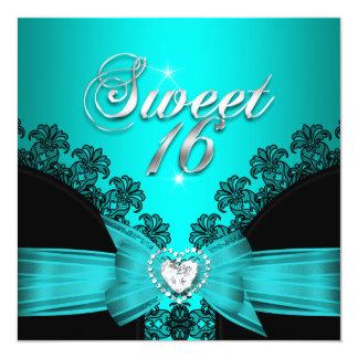 Sweet 16 Sixteen Aqua Blue Black Lace Card