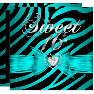 Sweet 16 Sixteen Aqua Blue Black Zebra 2 Card