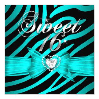 Sweet 16 Sixteen Aqua Blue Black Zebra 2 Card