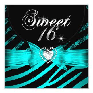 "Sweet 16 Sixteen Aqua Blue Black Zebra 5.25"" Square Invitation Card"