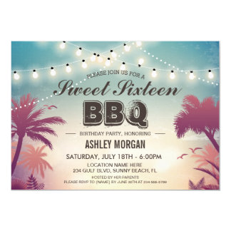 Sweet 16 Sixteen BBQ Party Summer String Lights Card