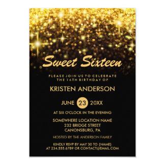 Sweet 16 Sixteen Birthday Gold Glitter Sparkles Card