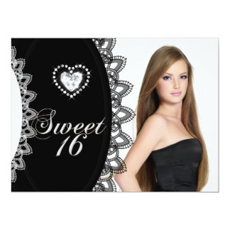 Sweet 16 Sixteen Birthday Party Black White Lace Personalized Invites