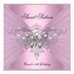 "Sweet 16 Sixteen Birthday Party Pink Butterfly 5.25"" Square Invitation Card"