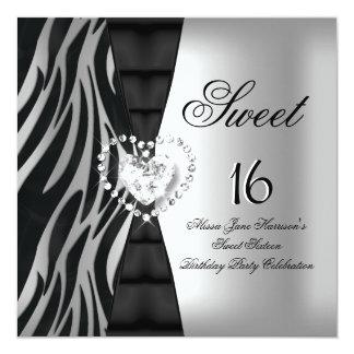 "Sweet 16 Sixteen Birthday Party Zebra Black Silver 5.25"" Square Invitation Card"