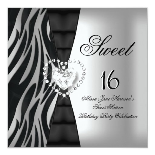 "Sweet 16 Sixteen Birthday Party Zebra Black Silver 5.25"" Square Invitation Card"