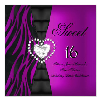 Sweet 16 Sixteen Birthday Party Zebra Plum Purple Card