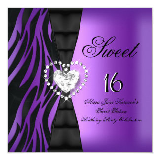 Sweet 16 Sixteen Birthday Party Zebra Purple 5.25x5.25 Square Paper Invitation Card