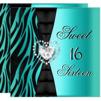 Sweet 16 Sixteen Birthday Party Zebra Teal Blue Card