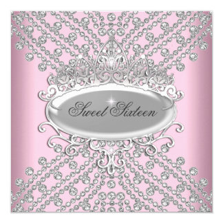 Sweet 16 Sixteen Birthday Pink Diamonds Image Card